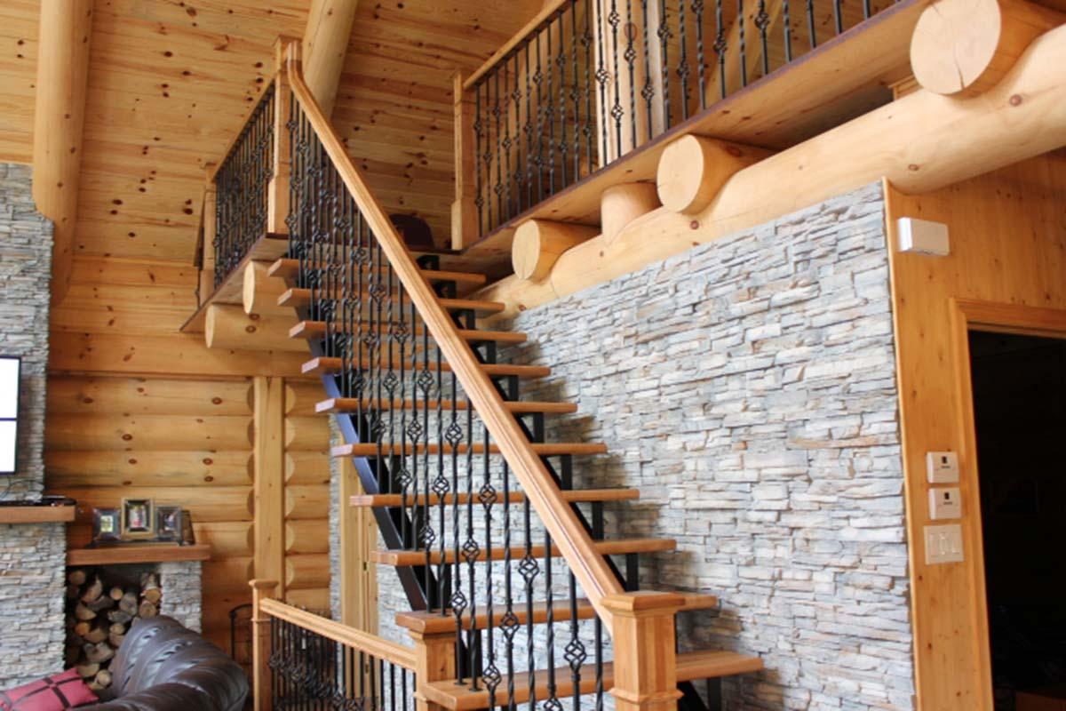 Maison et chalet de style scandinave prestige bois rond - Meuble en rondin de bois ...