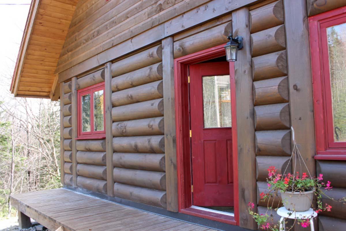 kit de maison en bois rond construction chalet usin prestige home scandinave poteau Construction de chalet en bois rond usiné